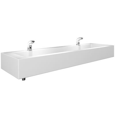 SanCeram 1800 trough with wall mounted taps