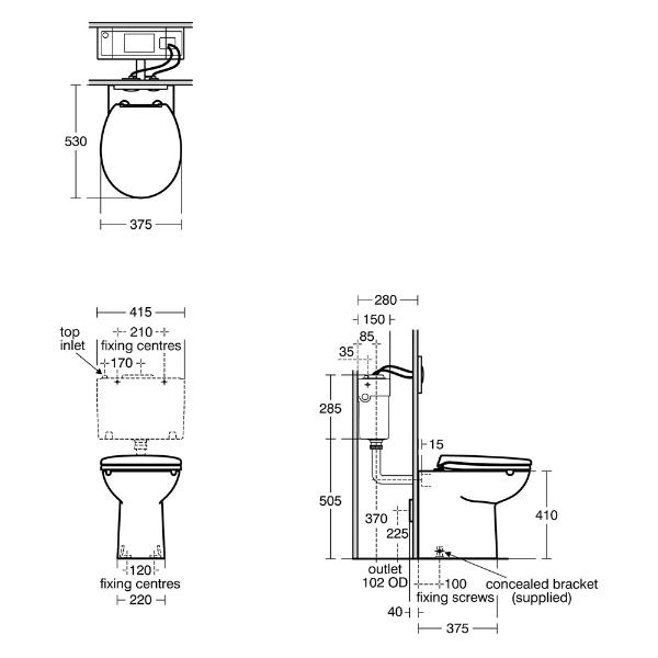 Contour 21+ Back to Wall Rimless toilet pan