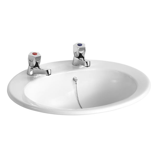 Sandringham 21 500 2TH oval countertop basin – ideal commercial, school or healthcare sanitaryware