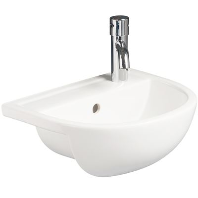 SanCeram Shenley small semi-recessed basin  400mm – space saving sink with right hand tap hole